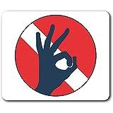 Komfortable Mausunterlage - Tauchen Flagge OK Hand Tauchen für Computer & Laptop, Büro, Geschenk,...
