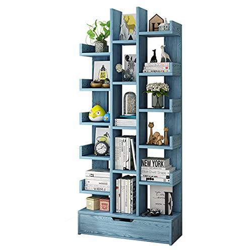 GELEI Estantería Libreria con Cajón, 17 Compartimentos Organizador De Almacenamiento Estantería De Estilo Industrial para Hogar Dormitorio Sala De Estar, Estudio, Oficina, Gran Espacio,Azul