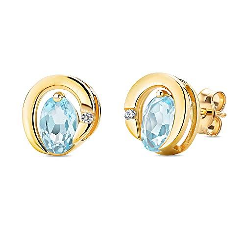 Orovi Pendientes de oro amarillo de 0,02 quilates, con diamante ovalado, piedra natal de noviembre, topacio azul y diamante brillante, pendientes de oro de 9 quilates (375)