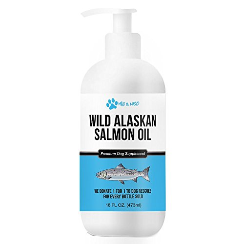 Max and Neo 100% Pure Wild Caught Alaskan Salmon Oil for Dogs and Cats - We Donate One for One to Dog Rescues for Every Bottle Sold (16oz)