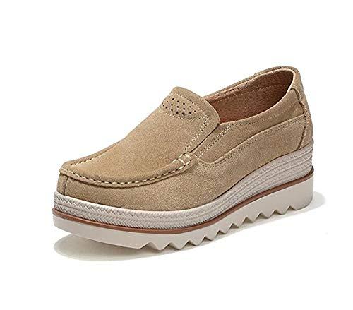 Mujer Mocasines Plataforma Casual Loafers Primavera Verano Zapatos de Cuña 5cm Negro Azul Caqui 35-42 Caqui 38