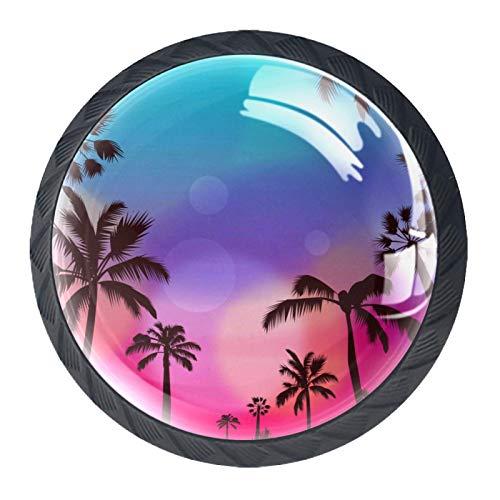 Palm Summer Schubladenknöpfe aus Glas für Schrank, Tür, Kleiderschrank, Schrank