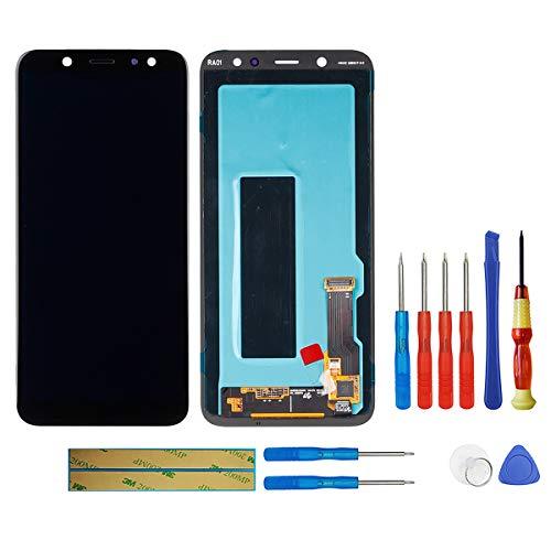 swark Pantalla AMOLED compatible con Samsung Galaxy A6 (2018) SM-A600 (negro sin marco), pantalla táctil LCD, digitalizador, cristal de montaje + herramientas