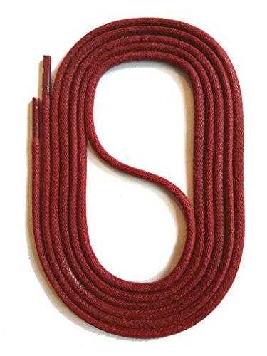 SNORS runde Schnürsenkel GEWACHST DUNKELROT 75cm, Ø2,5mm, Baumwolle, Rundsenkel für Business, Anzug- und Lederschuhe, reißfest, Made in Germany