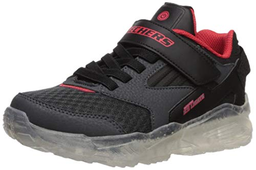Skechers Boys' Arctic-Tron-zollow Trainers, Grey (Charcoal Textile/Black Synthetic/Red Trim Ccbk), 12 UK (30 EU)