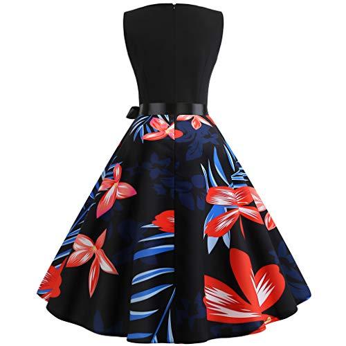 COZOCO Vestido de Las Señoras Vestido de Cintura sin Mangas con Cuello Redondo y Estampado de Flores Retro Francés de Las Mujeres(Rojo,M