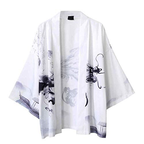 VJGOAL Uomo Giapponese Accappatoio Orientale Elegante 2020 Nuovo - Taoismo Camice da Spiaggia Grembiule Primavera Estate - Vestaglia Chimono Unisex Lovers Bello - Yukata Spa Beach