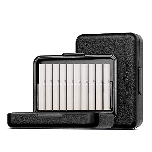 UMYMAYDO1 20 Holes PU Case Portable Cigarette Storage Box for IQOS Fiit Marlboro Heets Series Full Protective The Aroma of Cigarettes from Anti-Collision, Dust, Scratch(Black)