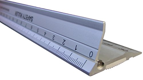 RULER, New Design 30 cm (12 Inch) Metal Craft Safety Ruler,Light Weight with Folding Safety Guard.Use with Rotary Cutter,Stanley or Xacto. For Paper,Leather,Fabric,Quilting,Scrap booking,Art,Office.