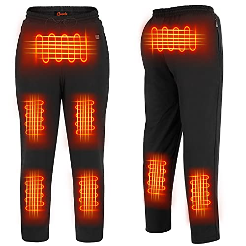 FERNIDA Black Heated Pants Body Warmer Thermal Thick Fleece Cotton Heating Pant use USB Movable Rechargeable Battery