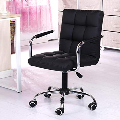 【Ship from USA】 Retro Desk Chair Home Office Chair with arms Swivel Computer Task Chair Wheels Executive Office Chair Black Removable armrest Capacity 400lb (B-Black)
