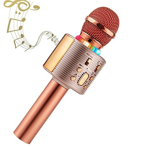 kabellos Karaoke Mikrofon, Bluetooth Karaoke Mikrofon für Kinder, paarbar für Duetten mit bunten Lichtern, Geschenk für 5 Jahre alte Jungen (Rose Gold)