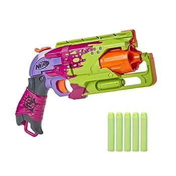 NERF Zombie Strike Hammershot Blaster -- Pull-Back Hammer-Blasting Action 5 Official Zombie Strike Darts -- Splatter Color Scheme  Amazon Exclusive