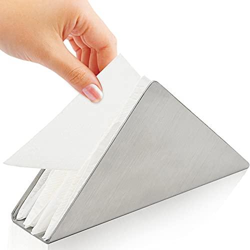 YancLife Portatovaglioli in Metallo, Dispenser per tovaglioli Moderno, Decorazione da Tavolo Verticale per Ripiani da Cucina, tavoli da Pranzo, Tavolo da Picnic (Argento)