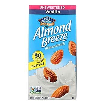 Blue Diamond Almond Breeze Unsweetened Vanilla 64 Oz  Pack of 8