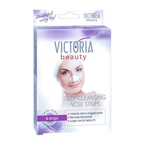 Victoria Beauty - Tiefenreinigende Nasenstrips gegen Mitesser, Clear-Up Strips, Blackhead Maske, Nasenmaske, Nasenstreifen zum Mitesser entfernen (1 x 6 Stk.)