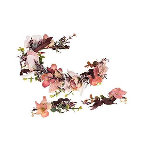 Winslet - Corona de flores para niña, de madera real, con flores y lirios, de imitación de madera de pino, color lila Girlandea. Talla única