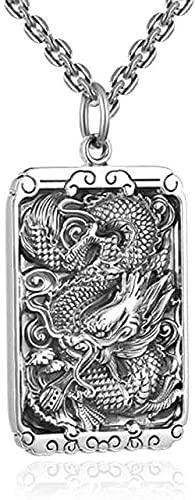 Yiffshunl Collar Moda Flying Dragon Collar 990 Plata de Ley Seis Personajes Zen Colgante Collar Clave Hombres S Conjunto de joyería Cadena única Joyería de Cuerda Negra Regalo Hecho a Mano