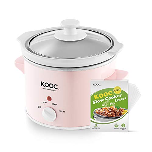 [NEW] KOOC Small Slow Cooker, 2-Quart, Free Liners Included for Easy Clean-up, Upgraded Crock Pot, Adjustable Temp, Nutrient Loss Reduction, Stainless Steel, Pink, Round