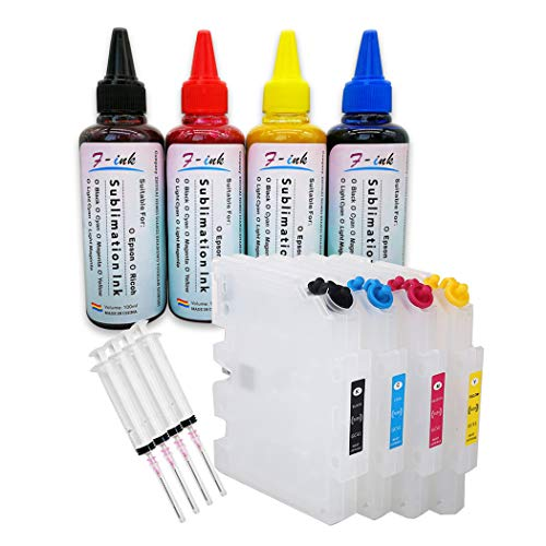 F-INK Cartuchos Tinta vacíos rellenables 4 Botellas
