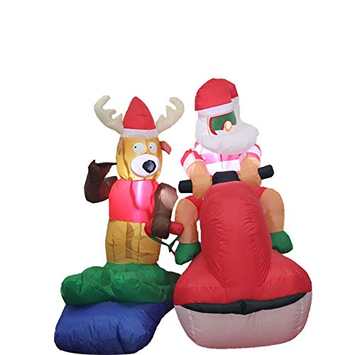 JUVOEY 4FT Christmas Inflatables Blow Up Yard Decorations, Santa Claus Moose Driving Yacht...