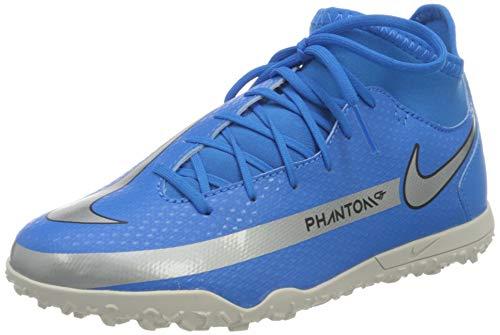 Nike Jr Phantom GT Club DF TF Football Shoe, Photo Blue/Metallic Silver-Rage Green-Black, 35.5 EU