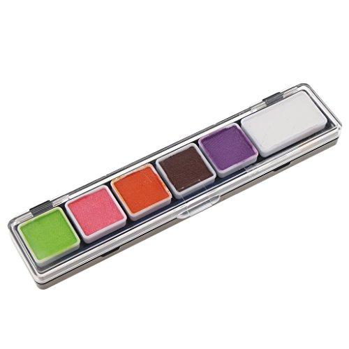 Sharplace 6 couleurs Peinture Non-toxique de Visage et De Corps Peignent La Trousse à Outils d'Art de Partie de Fantaisie - RT005C
