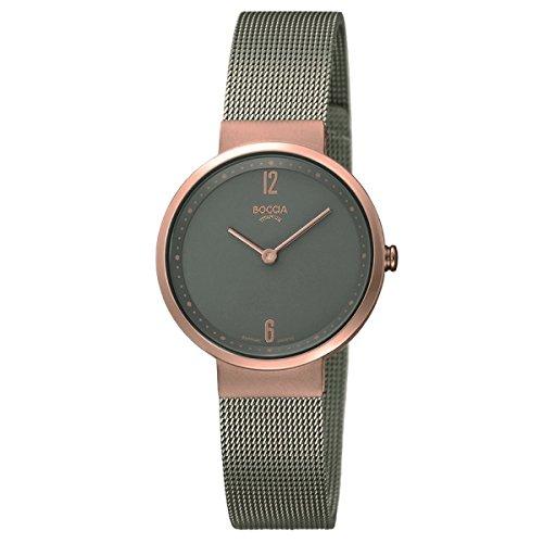 Boccia Damen Analog Quarz Uhr mit Edelstahl Armband 3283-03