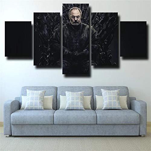 5 Piezas Lienzos Cuadros Pinturas Tronos Davos Seaworth Negromodernos Impresión Imagen Artística El Arte Pared del Hogar Salón Oficina Decoración Sin Marco