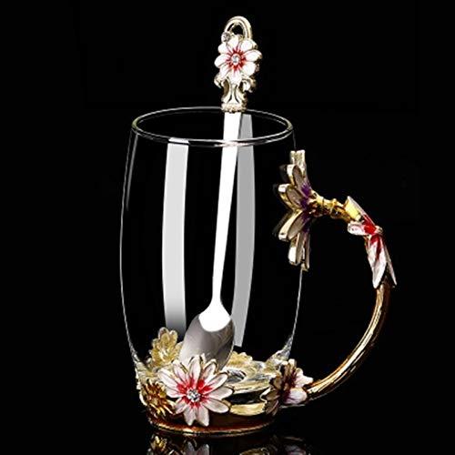 ERTERT Diseñador Creativo de Lujo Especial Transparente Transparente Talla de Cristal Taza de Vidrio para té de Agua Inicio Casa Bodas Regalo de Boda (Color : Juhua 350ML)