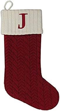 St. Nicholas Square 21 Inch Cable Knit Monogram Christmas Stocking (Embroidered J)