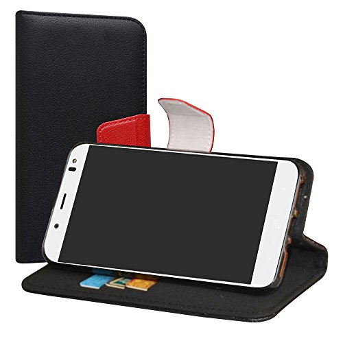 LiuShan BQ Aquaris VS Plus/Aquaris V Plus Hülle, Brieftasche Handyhülle Schutzhülle PU Leder mit Kartenfächer & Standfunktion für BQ Aquaris VS Plus/Aquaris V Plus (5,5 Zoll) Smartphone,Schwarz