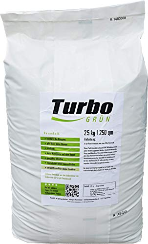 Turbogrün Rasenkalk, Rasenkalk gegen Pilze, entzieht dem Moos die Lebensgrundlage, verstärkt die Düngung, staubarm, Rasendünger Produktname