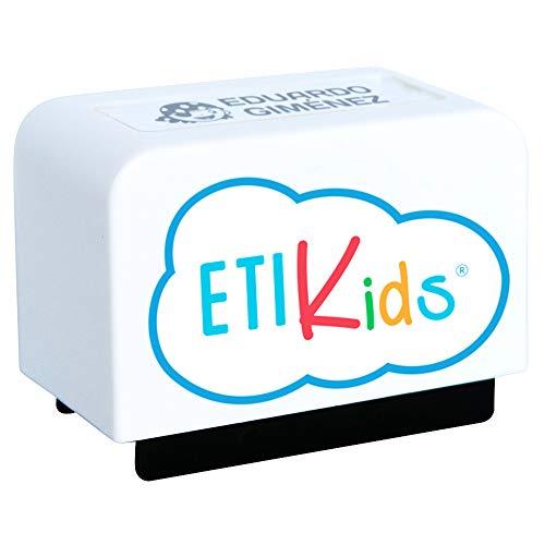 Sello personalizado para niños. Sello marcador de ropa y libros. (Blanco)