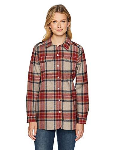 Pendleton Damen Board Long Sleeve Wool Shirt Button-Down Hemd, Vintage Ivory Stewart, Groß