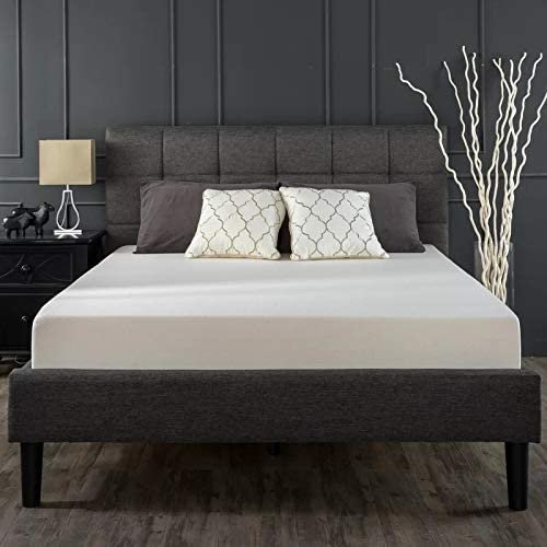 Zinus Classic Upholstered Geometric Square Stitched Headboard Fabric Queen Bed Frame Mattress Support Foundation - Wo...