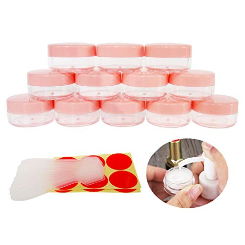 GreatforU 12pack 10 Gram 10ml Jars, Small Cosmetic Sample Empty Container, Plastic Round Pot PINK Screw Cap Lid, Tiny 10g Bottle for Makeup, Eye Shadow, Nails, Powder, Jewelry, Free 12pcs Spatulas