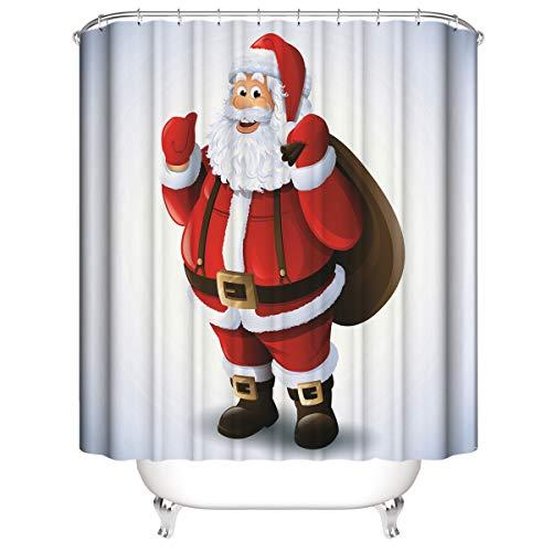 Kerstman rode cartoon douchegordijn, badkamer gordijnen Waterdicht schimmelbestendig bestand
