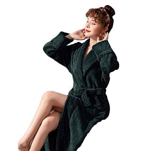 LZQBD Pyjamas, Damen-Dressingkleid Weiche Fleece-Frauen-Kleider-Robe-Bademantel Loungewear Für Ihre Pyjamas-Sets,Frauen Grün,X-Groß