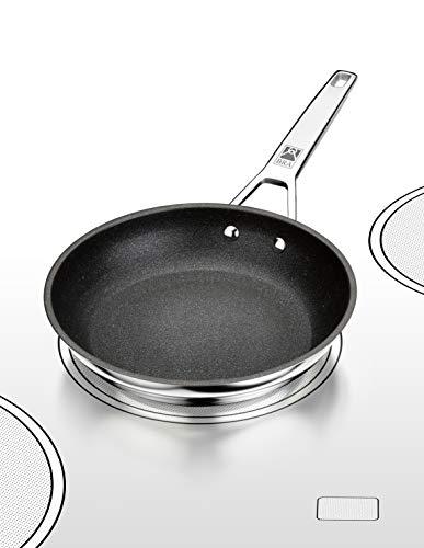 BRA Connect Sartén acero inoxidable con antiadherente Profile y tecnología Bi-Clad, apta para todo tipo de cocinas incluida inducción, libre de PFOA, 26 cm, Aluminio Fundido