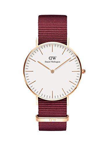 Daniel Wellington Classic Roselyn, Reloj Rojo/Oro Rosado, 36mm, NATO, para Mujer y Hombre