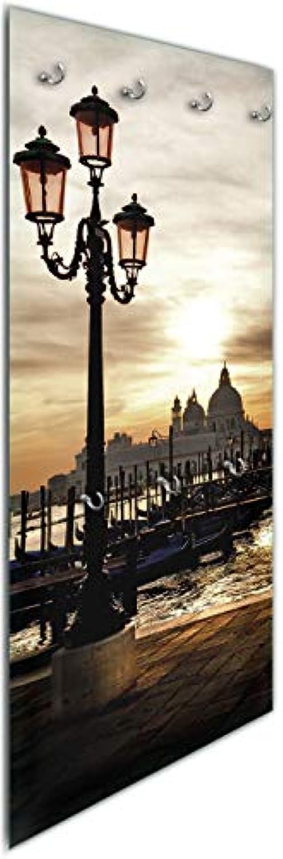 Wallario Wandgarderobe aus Glas in Gre 50 x 125 cm in Premium-Qualitt, Motiv  Venedig - Lagune bei Sonnenuntergang  7 Kleiderhaken zum Aufhngen von Jacken