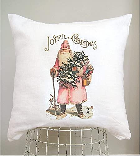 Funda de almohada rosa de Papá Noel, Shabby Vintage Navidad, Cottage Chic, almohada de vacaciones, Kitsch Navidad