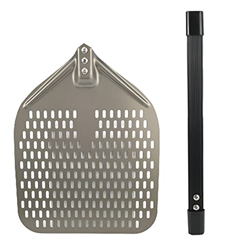 ZS ZHISHANG Perforated Pizza Shovel 12 inch for for Baking Homemade Pizza Oven Aluminum Metal Pizza Paddle with Foldable Handle Practical Kitchen Tool