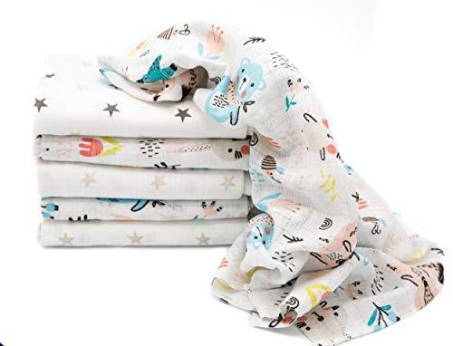 Clevere Kids Mulltücher Sterne grau | 6er Pack | Spucktücher Mullwindeln | 70x80 | doppelt gewebt |OEKO-TEX (Waldfreunde aqua)