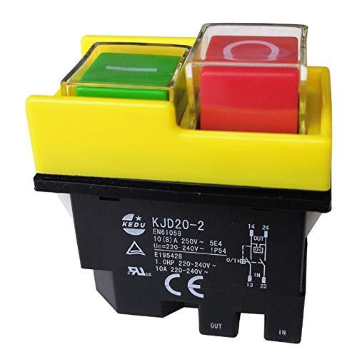 KEDU KJD20-2 Interruptor de botón electromagnético 4 pins ON OFF interruptores de...