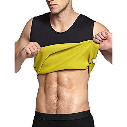 TOPTIE 男性圧縮シャツ サウナ服 腹部体の形 ウエストトレーニング タイト スリミング - ジッパーなし ブラック/イエロー - L