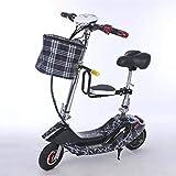 CYC Bicicleta Eléctrica Mini Bicicleta Portátil 8 Pulgadas Aleación de Aluminio 25km / H 36v / 20ah 300w Bicicleta Eléctrica Plegable Adecuado para Hombres Mujeres Desplazamientos Urbanos,Negro