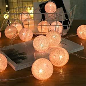 ELINKUME® LED cadena ligera con 20 bolas de algodón, De color blanco luminoso caliente, Operado con pilas, cuerda de la lámpara del Lampion para la decoración, rosa