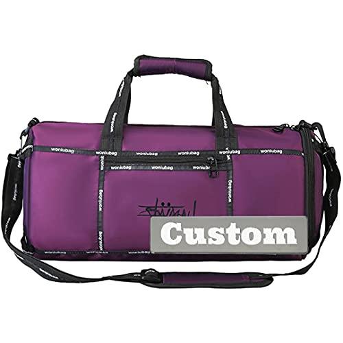 INGKDDL Personalizado Nombre Personalizado Gimnasio Tote Mujeres Duffel Bag Amplio Gimnasio Zapato Compartimiento Hombres Bolsillo Utilidad (Color : Purple, Size : One Size)